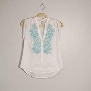 Anthropologie | Floreat Embroidered Boho Blouse